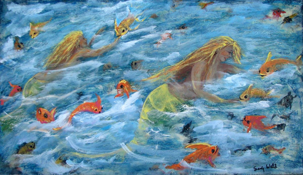 sea, mermaids, fish, orange, blue, ocean, aqua, fantasy , figurative, animal, sea life (large view)