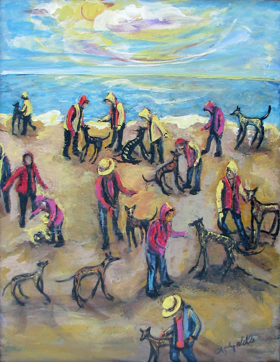 pets, dogs, greyhounds, beach, ocean, sea, party, yellow, pink, blue, figurative (large view)
