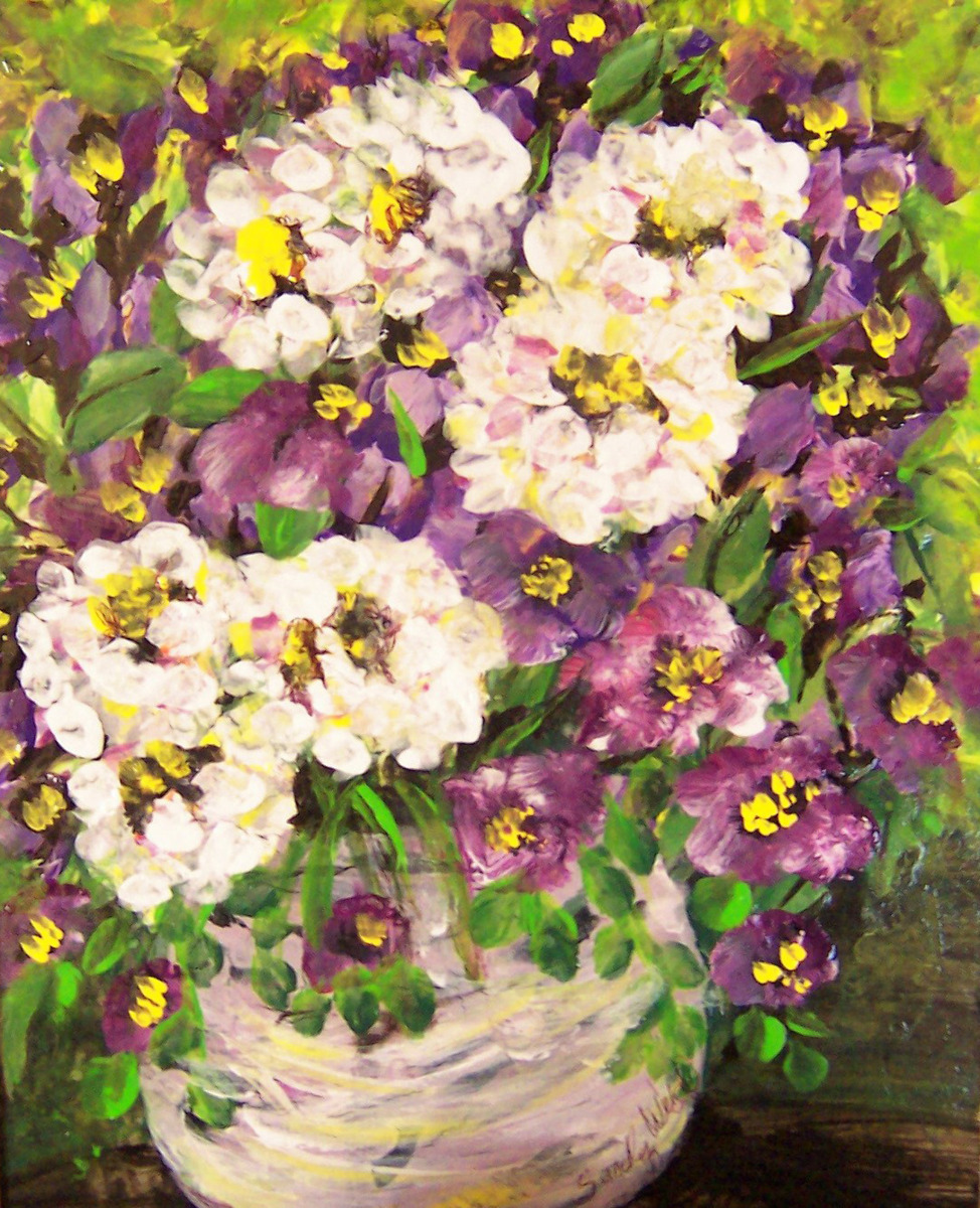 flowers, violets, white flowers, table top, still life (large view)