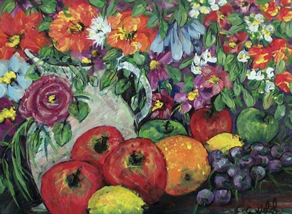 fruit, flowers, bright, colorful, still life (large view)
