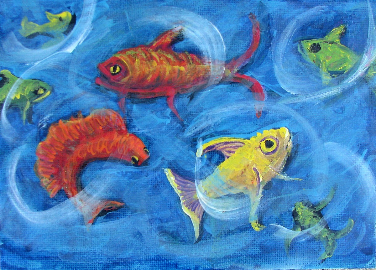 fish, sea life, ocean, silly, fantasy, fun, bright red, blue, orange, yellow (large view)