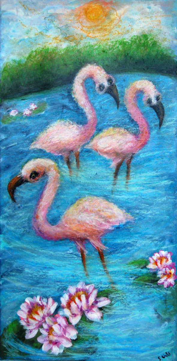 birds, florida, fun, silly, fantasy, blue, pond, tropical (large view)