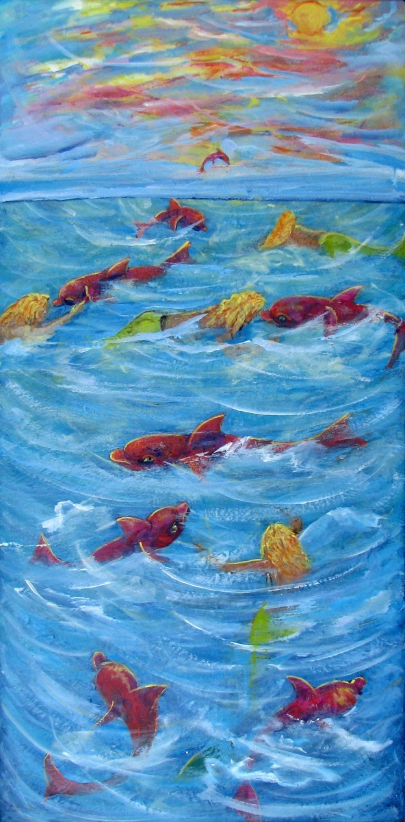 mermaids, green,  pink, animals, sea life,  dolphins, fish, animals,  blue sea, ocean (large view)