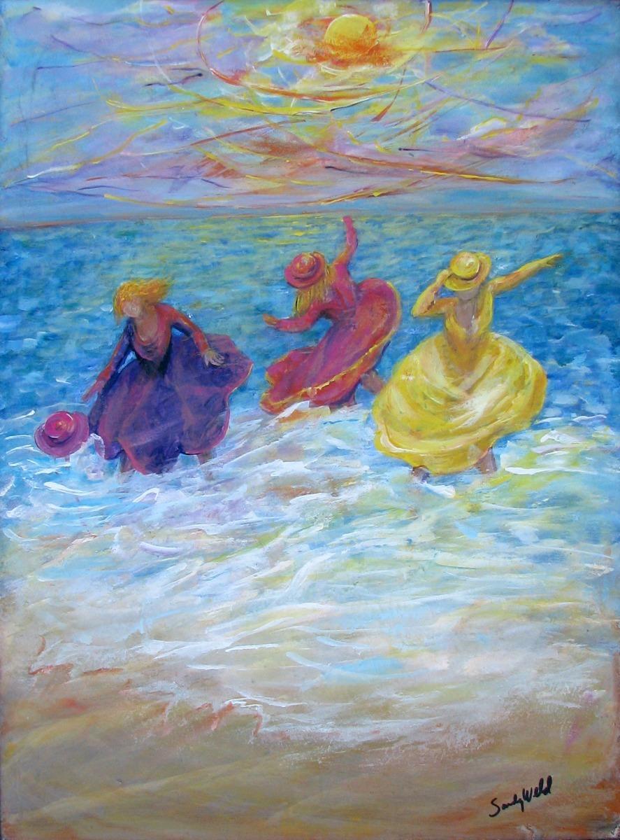 3 girls jump in the waves figurative, sea, beach, seaside girls, figurative, dance, movement, surf, pink,  figurative, sea, beach, seaside girls, figurative, dance, movement, surf, pink,  (large view)