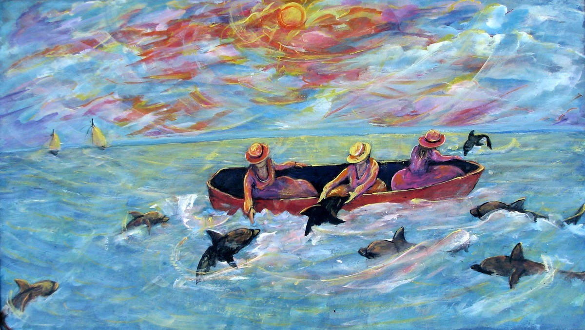 figurative, animals, sea life, blue ocean, aqua and pink tones (large view)
