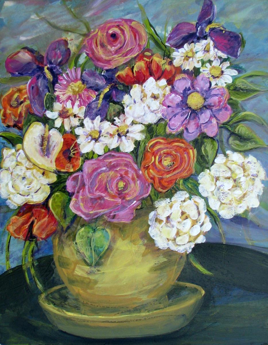 pink, white, floral, still life arrangement, pot, yellow, pink, orange, white, purple (large view)