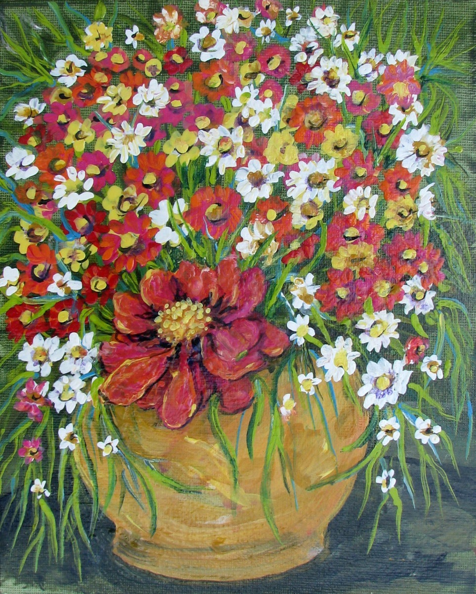 orange, red, white, floral arrangement (large view)