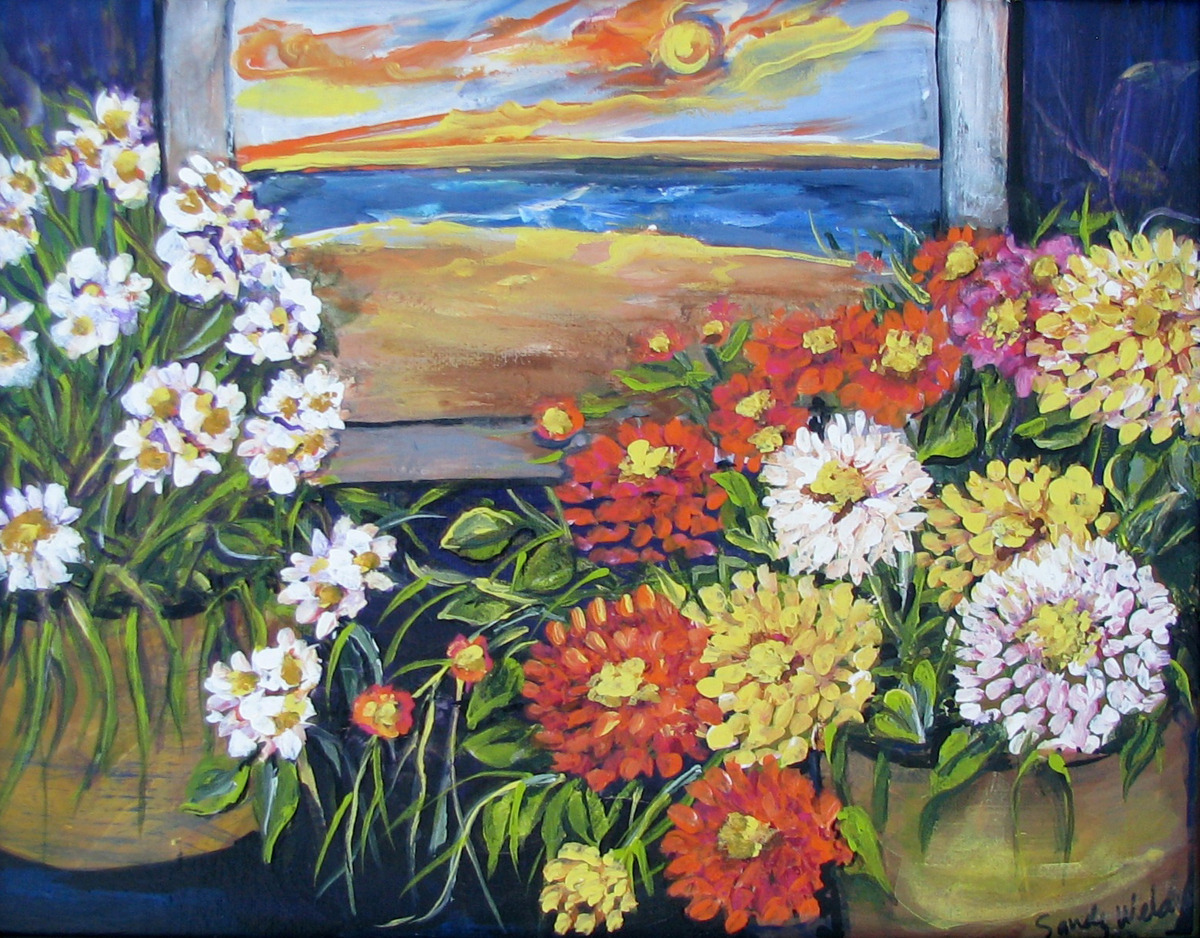 flowers, floral, sunny, beach, sunny colors, yellow, orange (large view)