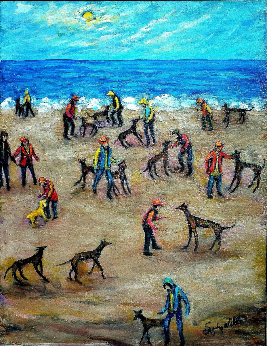dogs, pets, rescue mission, crowds, beach, gathering, annual, kids, blue, animals (large view)