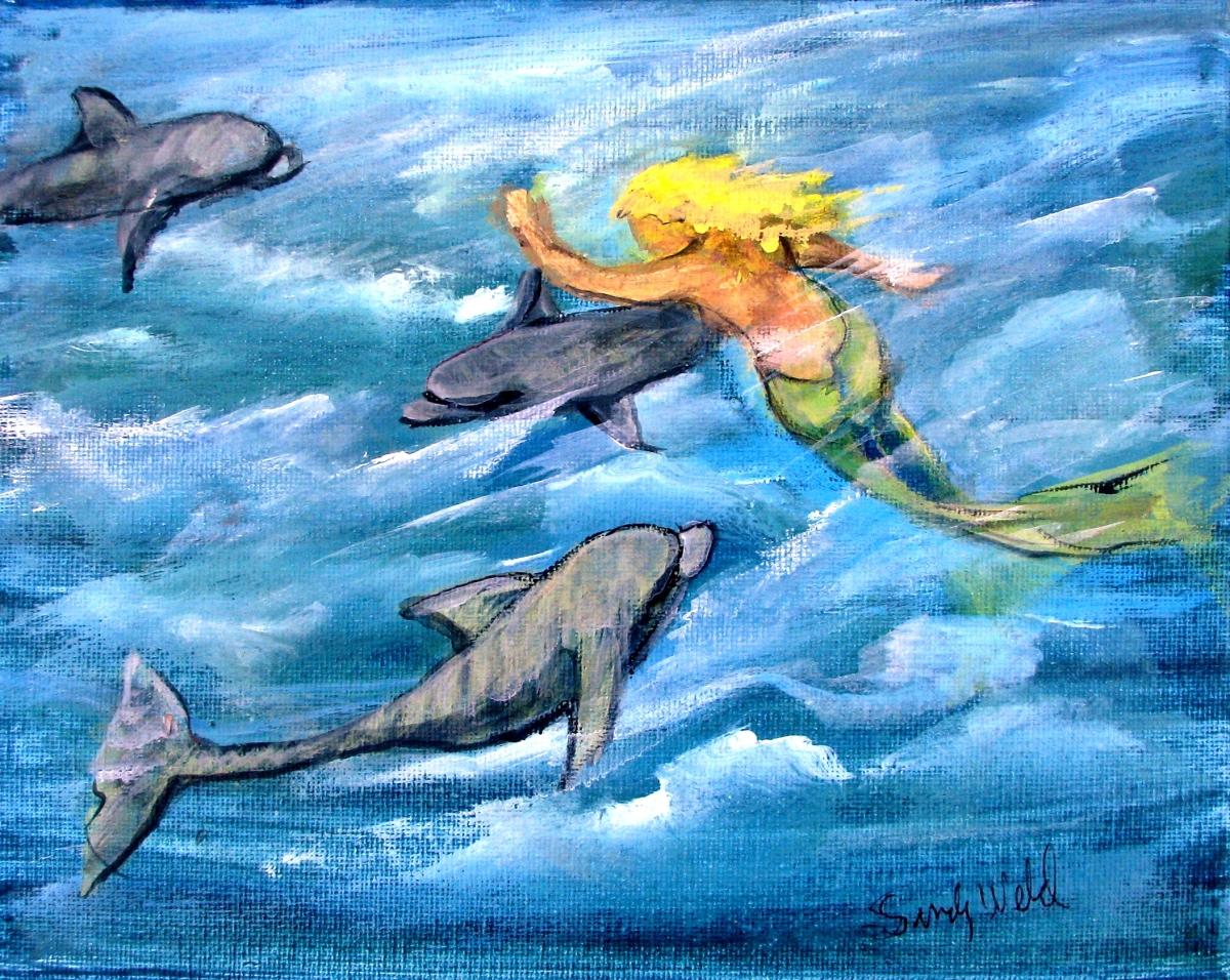 mermaid, porpoises, sea scenes, ocean blue, motion, animals, fantasy, fun, blue, figurative, fish (large view)