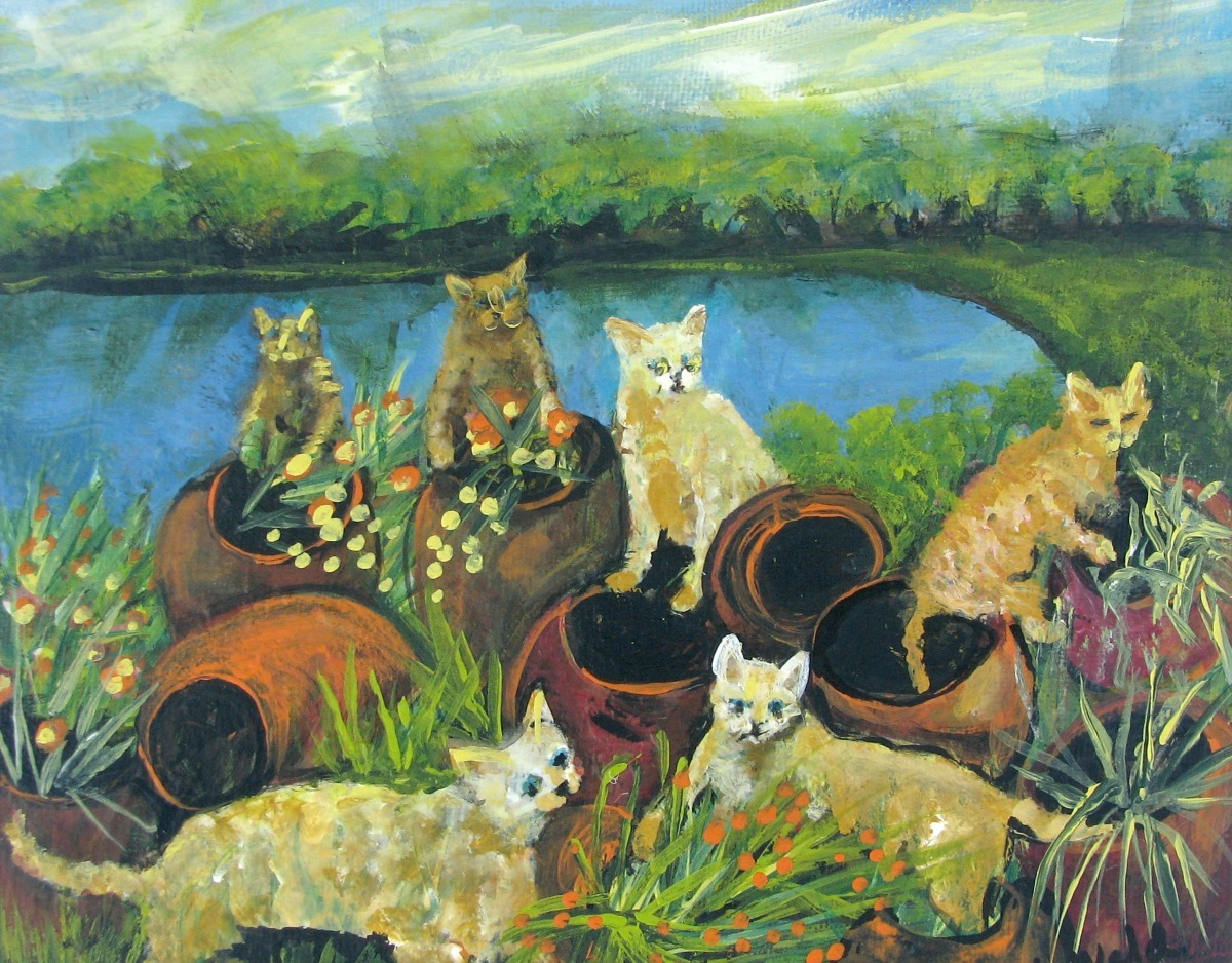 cats fun, fantasy, pets, animals, nature scene, flower pots, lake water  (large view)