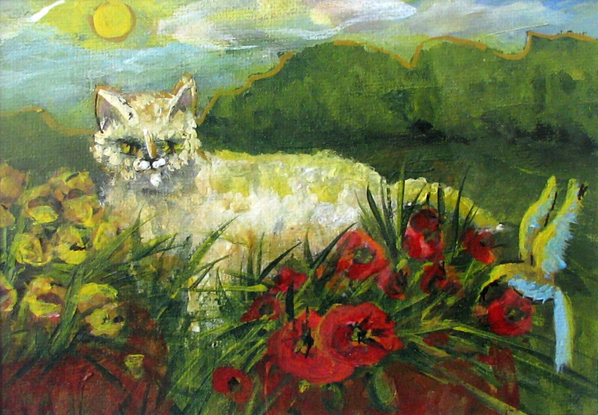 cats, bird, animals, silly, fantasy, red flowers, fantasy, impressionism, pets, animals (large view)