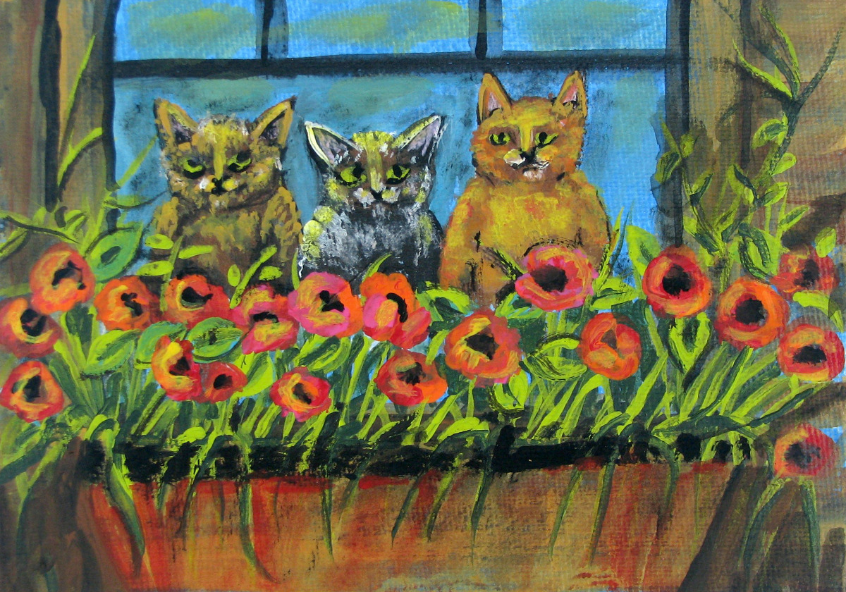cats, pets, kittens, bright, fantasy, humorous, colorful (large view)