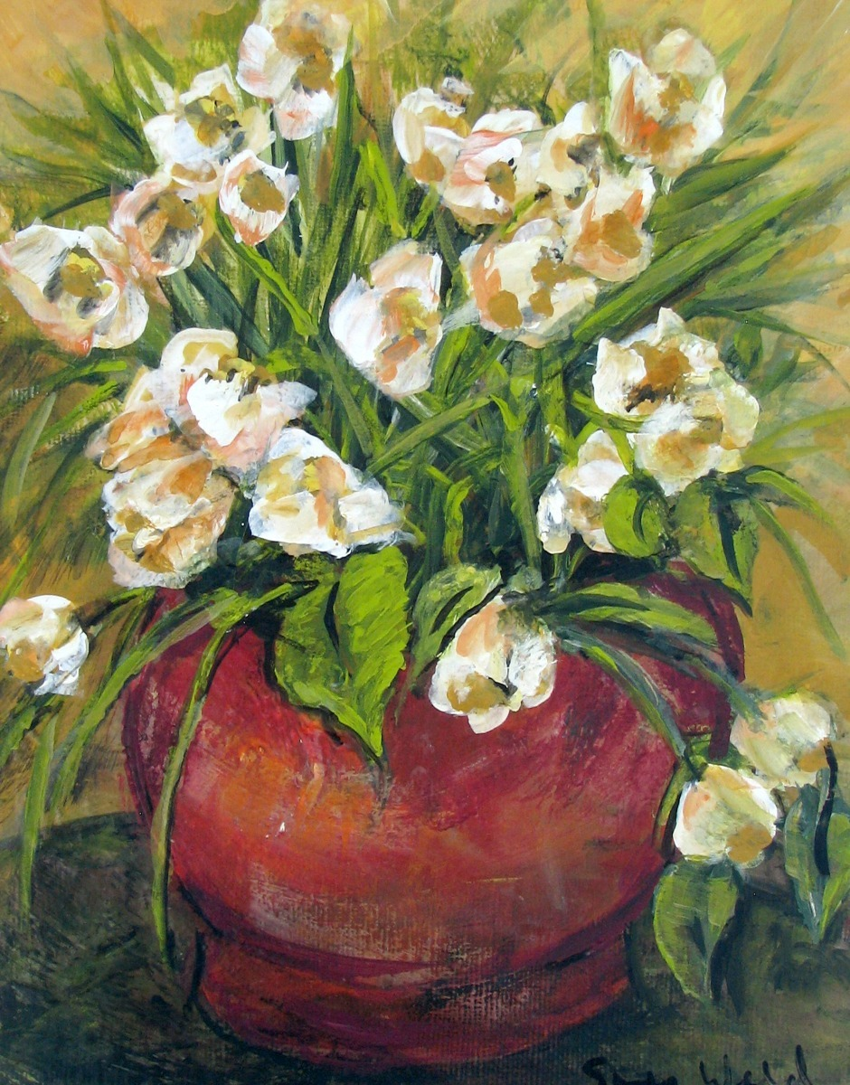 white flowers in pot, floral, still life, impressionism (large view)