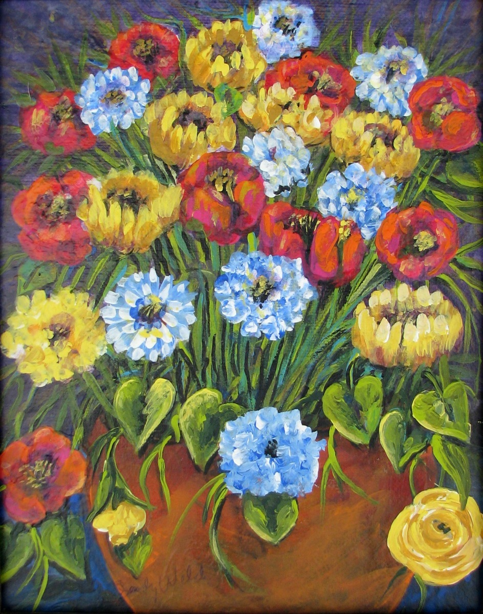 still life, floral, yellow, red, blue, green (large view)