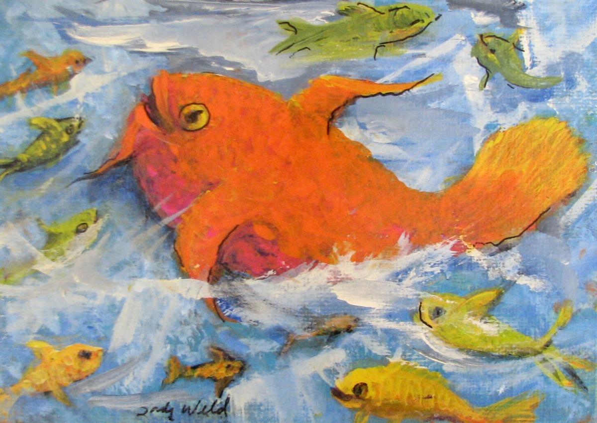 fish swims, ocean, orange, sea life (large view)
