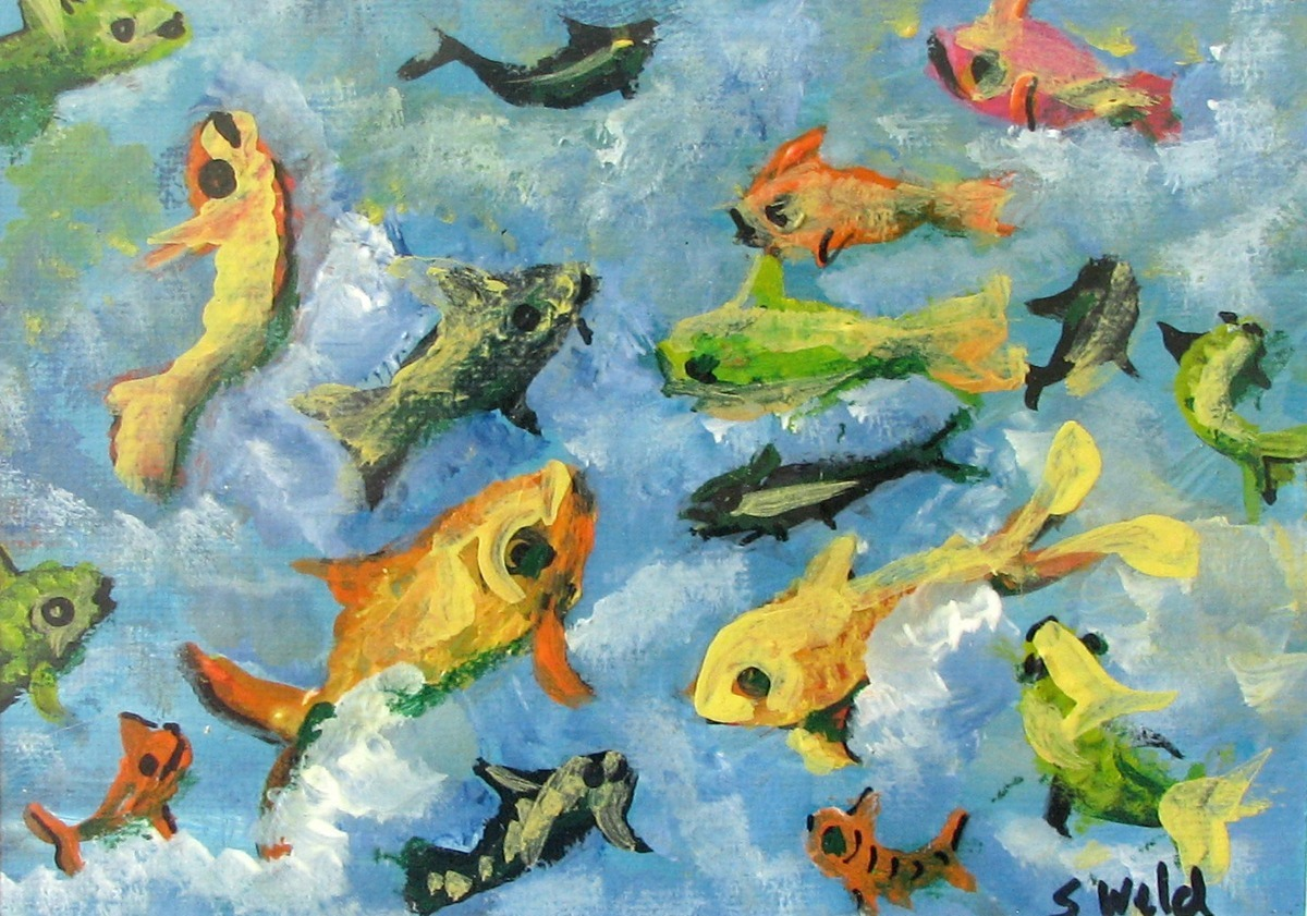 Sandy Weld's acrylic painting of a school of blue & green fish swimming in blue sea fantasy. (large view)