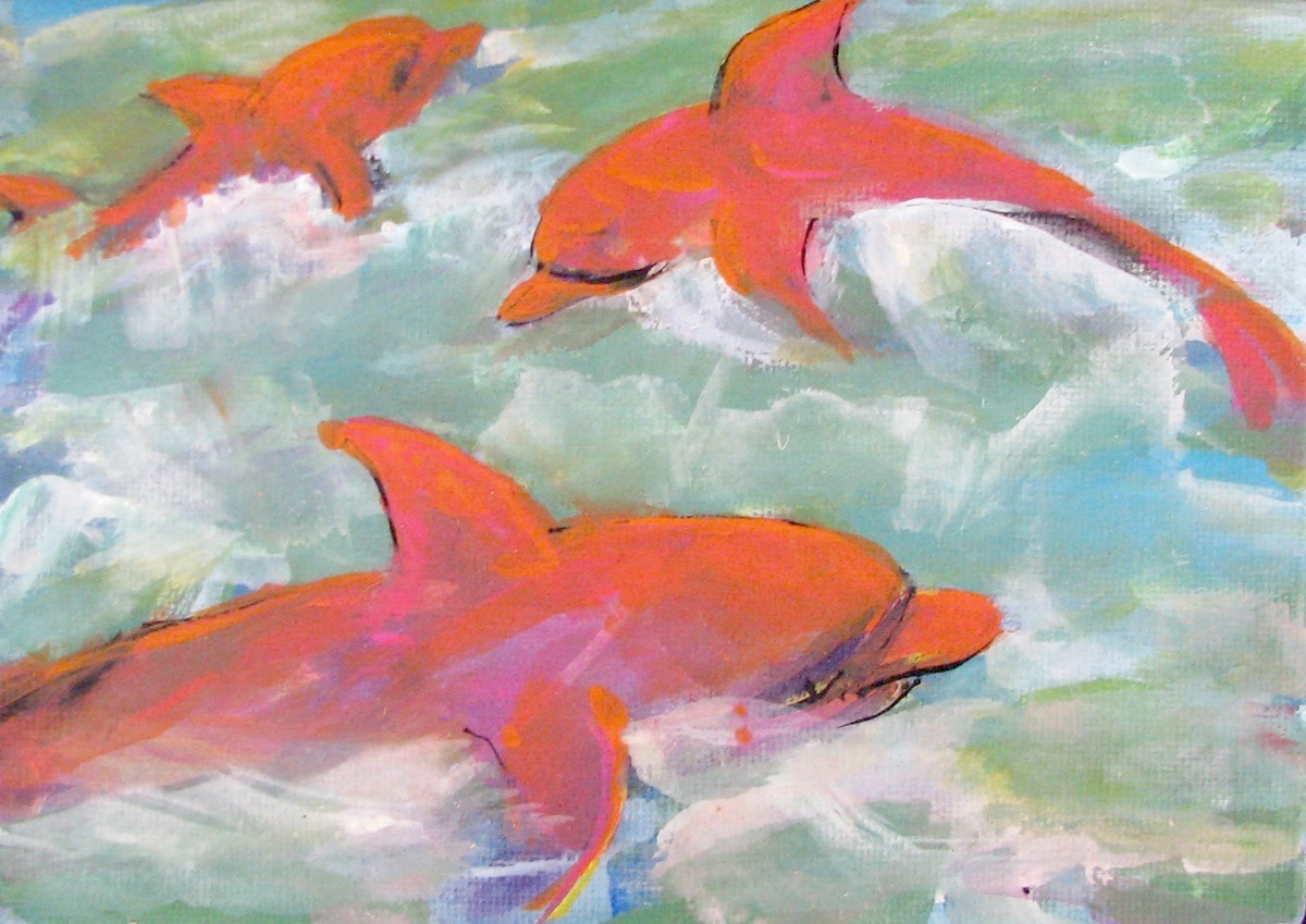 pink dolphins, sea, fantasy, animals, sea life, animals (large view)