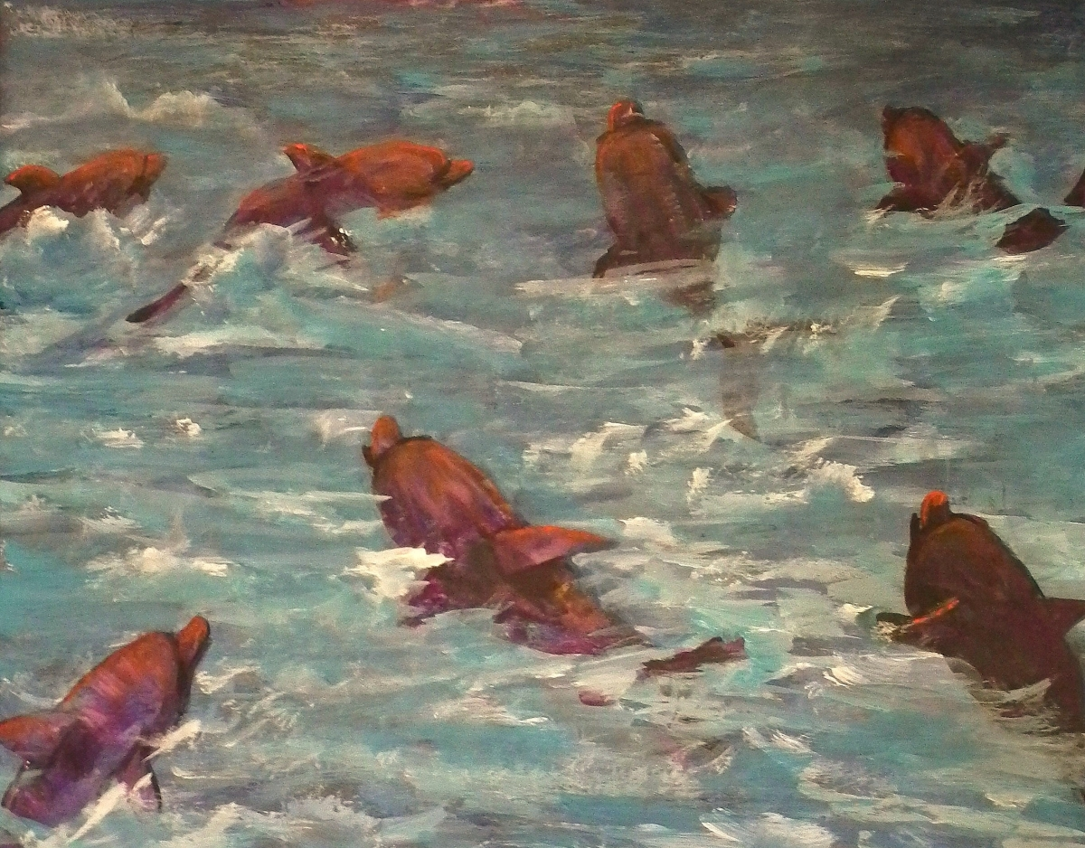ocean, dolphins, sea., active, fish, nature, animals (large view)