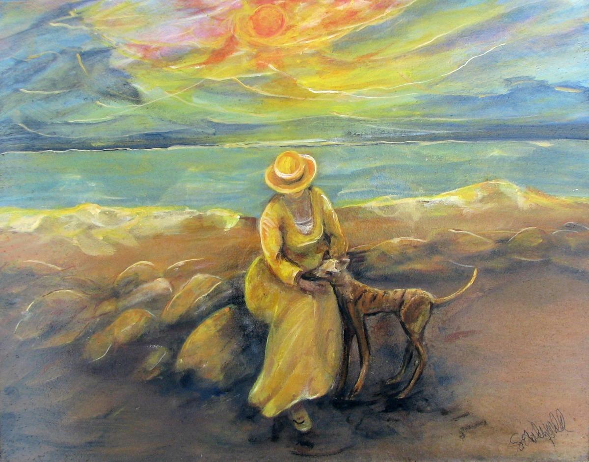#57 Yellow Seaside Girl & Greyhound (large view)