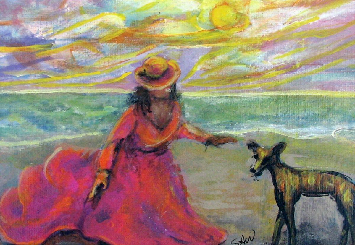 #58 Seaside Girl & Greyhound Puppy (large view)
