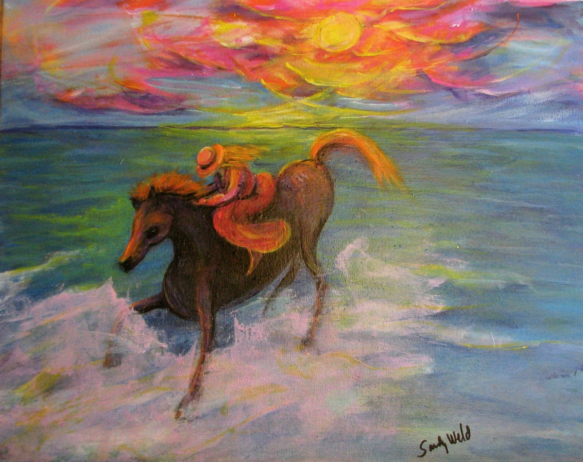 pony, horse, sunset, surf, sky, ocean, seaside, surf, fun, animals, pets, figurative (large view)