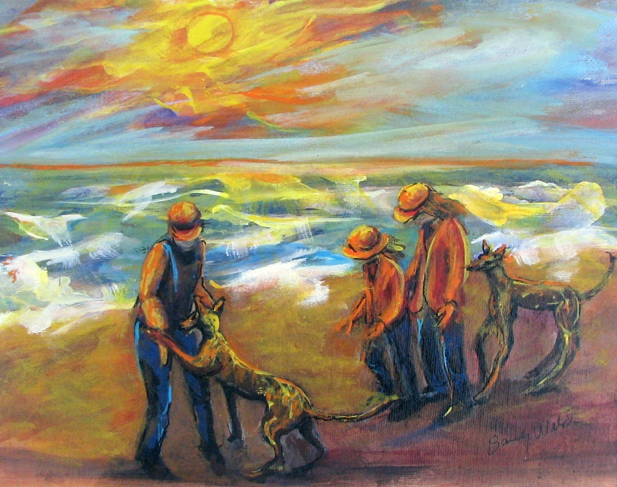dogs, greyhounds, beach, ocean surf, kids, ocean, oranges, autumn shades, figurative (large view)