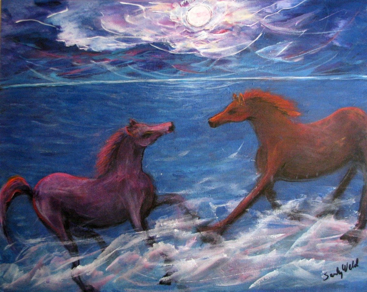 pinks, blues and soft light ponies, surf, ocean, animals, pets, fantasy, fun, romantic (large view)