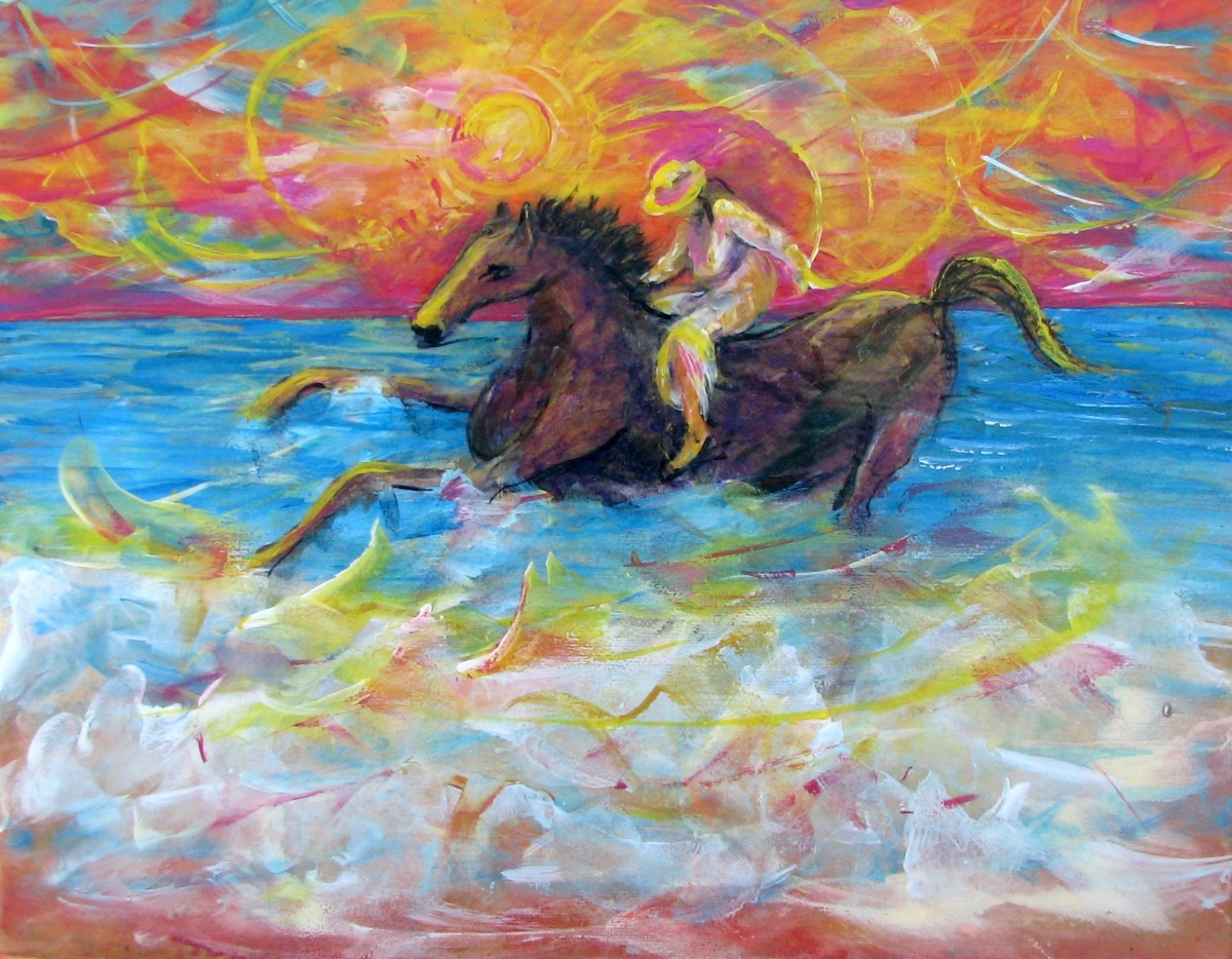 surf, ocean, seaside girl, horse, pony, sunshine, figurative, animals,  adventure