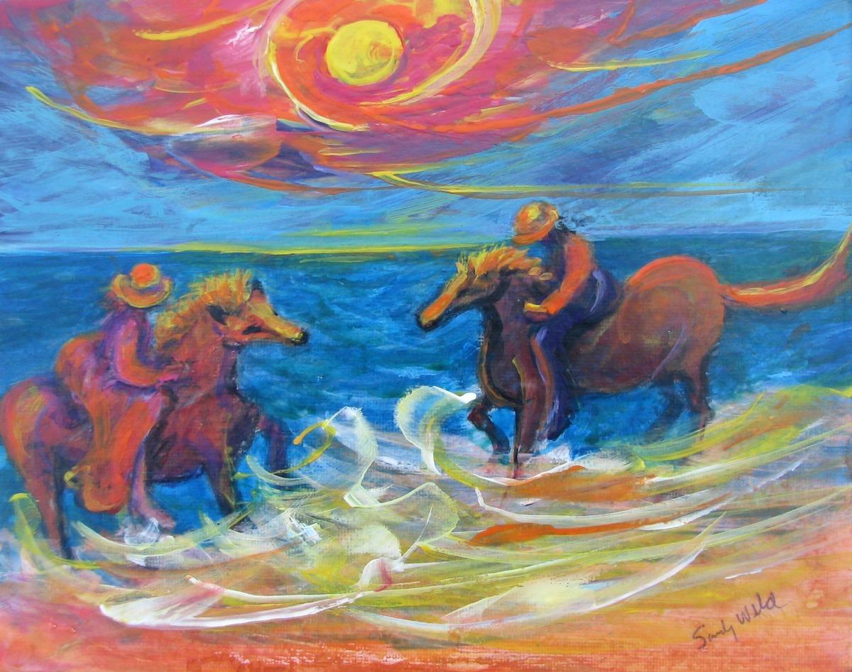horses, ocean, seaside girls,  sunshine, orange, yellow. surfside pony, animals, pets, beach scene, figurative (large view)