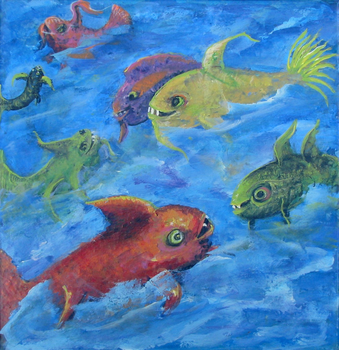 ocean, sea, fish, bright, colorful, primary colors, fantasy, sea life, animals (large view)