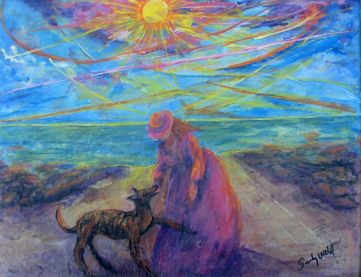 greyhound, ocean, dog, beach, ocean, bay, greyts, girl, animal, figurative (large view)