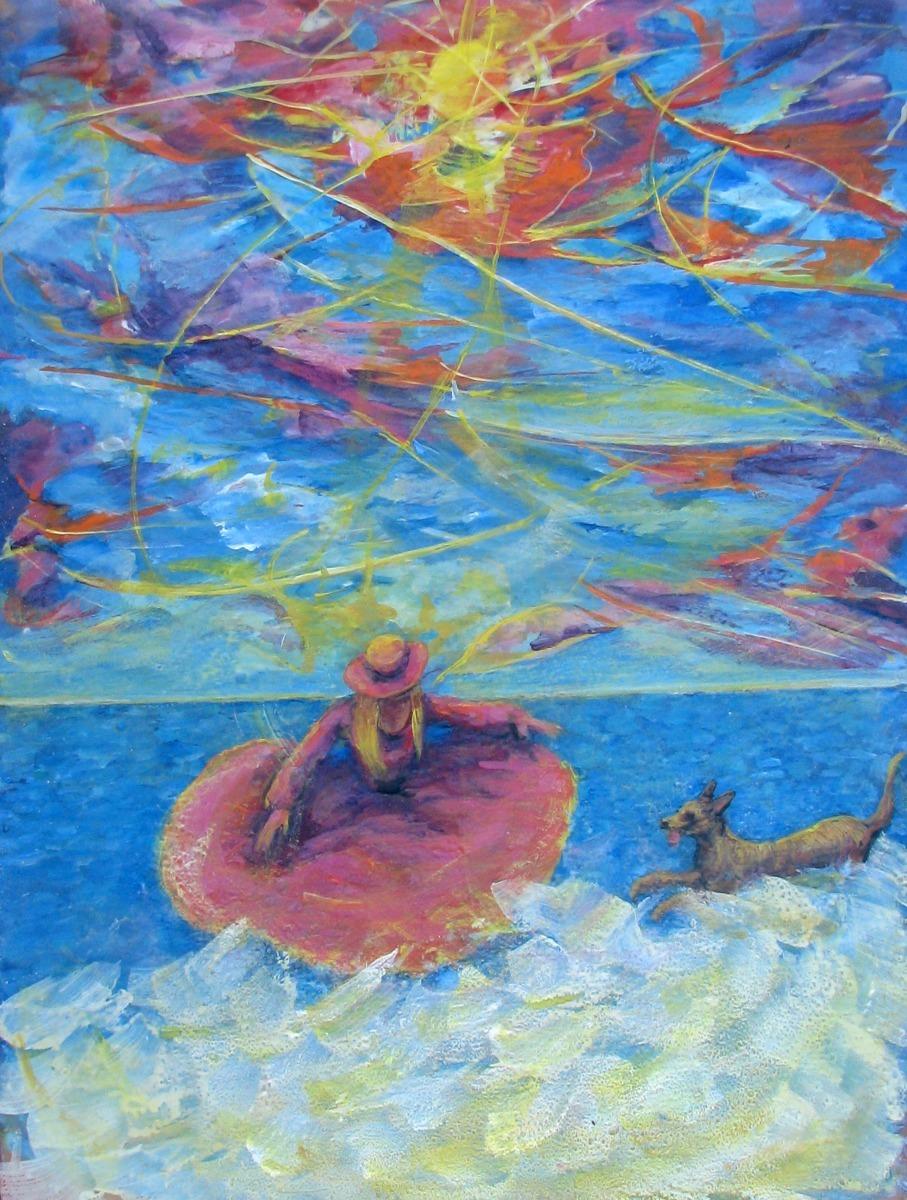 dog, girl, ocean, surfsurf, seaside girl, ocean, ocean, figurative, animals, greyhound mix, Victorian (large view)