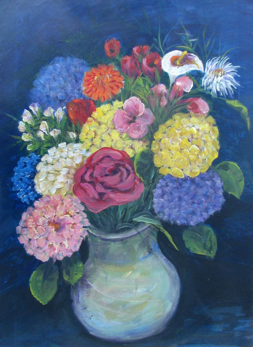flowers, floral, arrangements, pink, roses, hydrangeas, still life, garden  (large view)