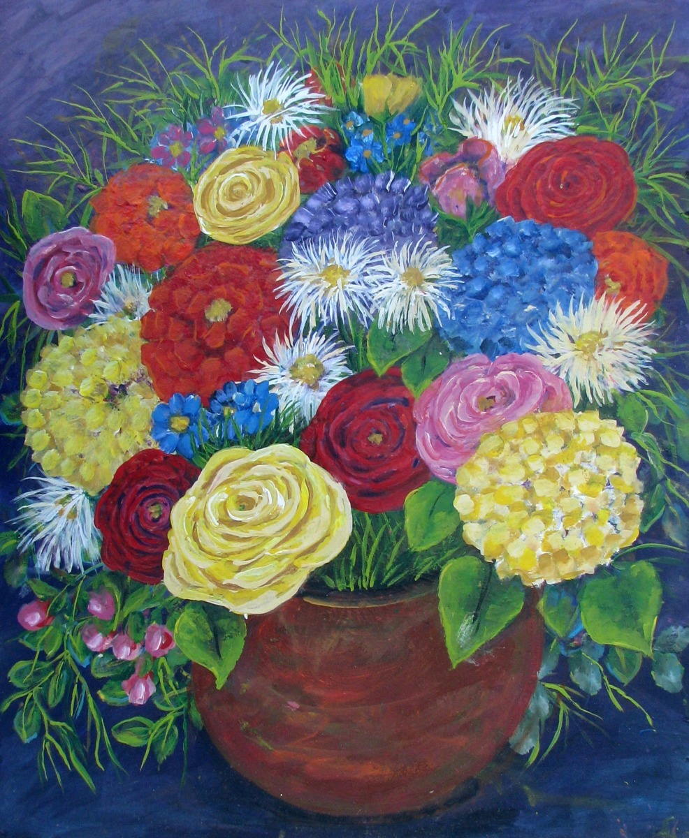 color in coppery colored  pot, primarily reds, yellows, blues, flowers, pots, floral  (large view)