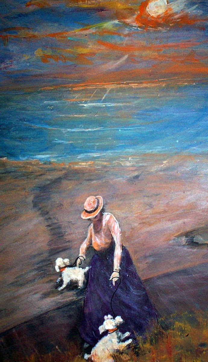 dogs, pets, seaside lady, beach, ocean, soft light, animals, moon (large view)