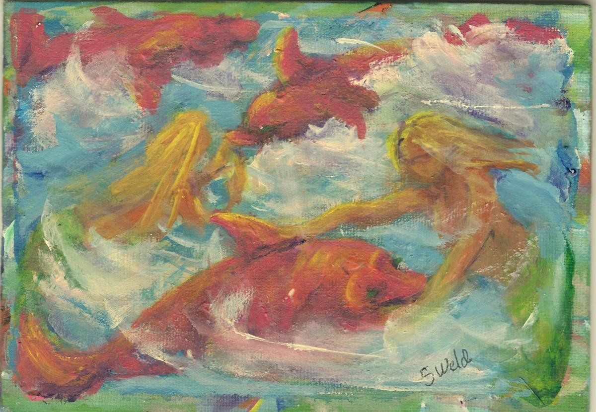 Whimsical, playful, mermaids, ocean, dolphins, porpoises, fish  animals, ocean, beach, swim, whimscial (large view)
