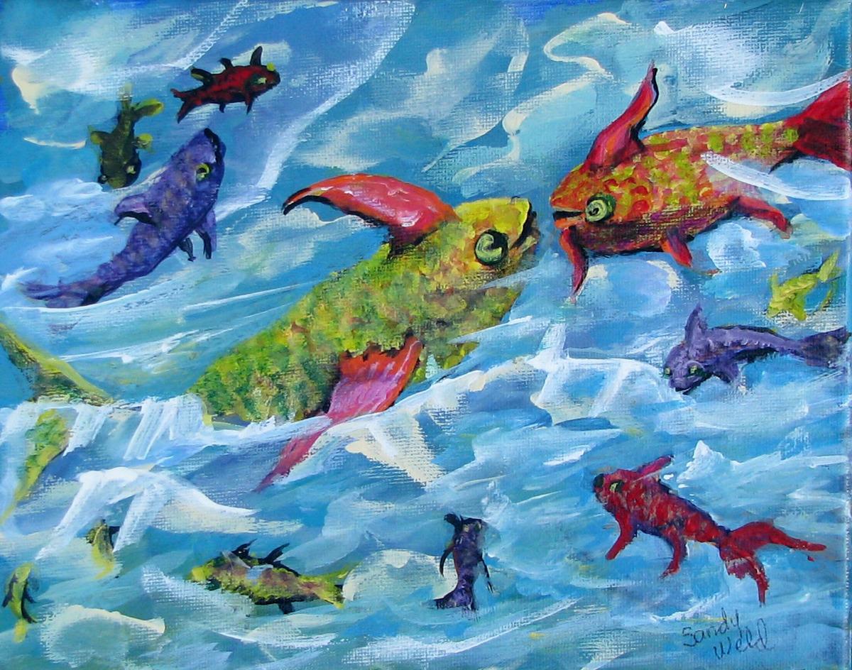 fish, ocean, fantasy, fun, humorous, textured, animals (large view)