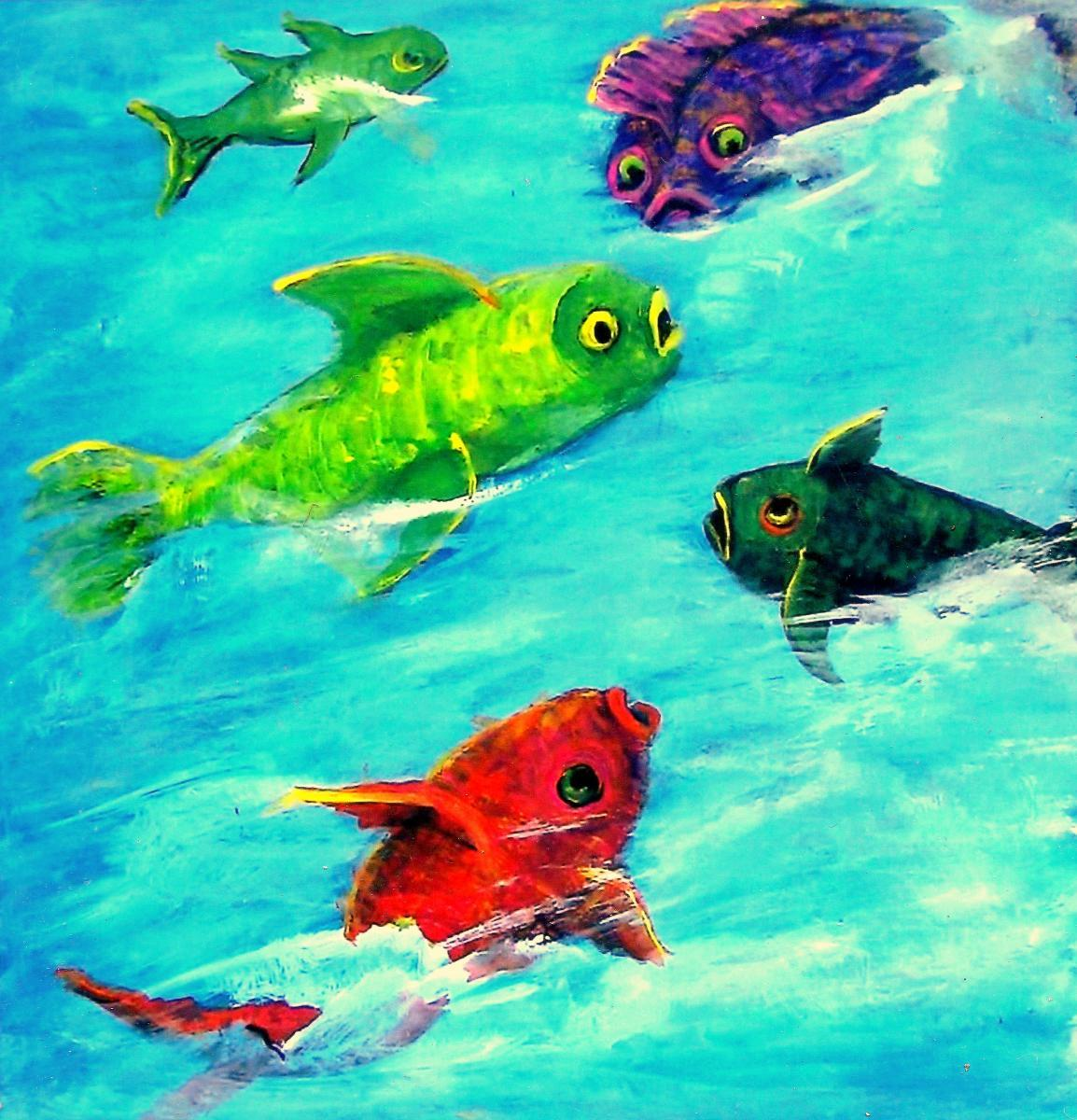 reds, greens, bright aqua, blue, silly, humorous, impressionism, sea life, fish (large view)