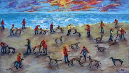 #14 Greyhounds & Friends by Sandy Weld, Artist