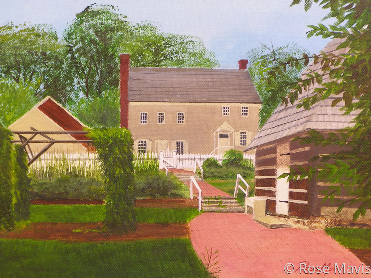 Landscape painting of the Burnside Plantation entryway (large view)