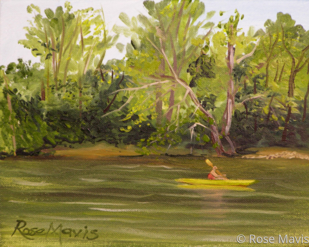 A plein air of a canoe paddling along the Lehigh River at the Bethlehem Boating Club in Bethlehem, PA (large view)