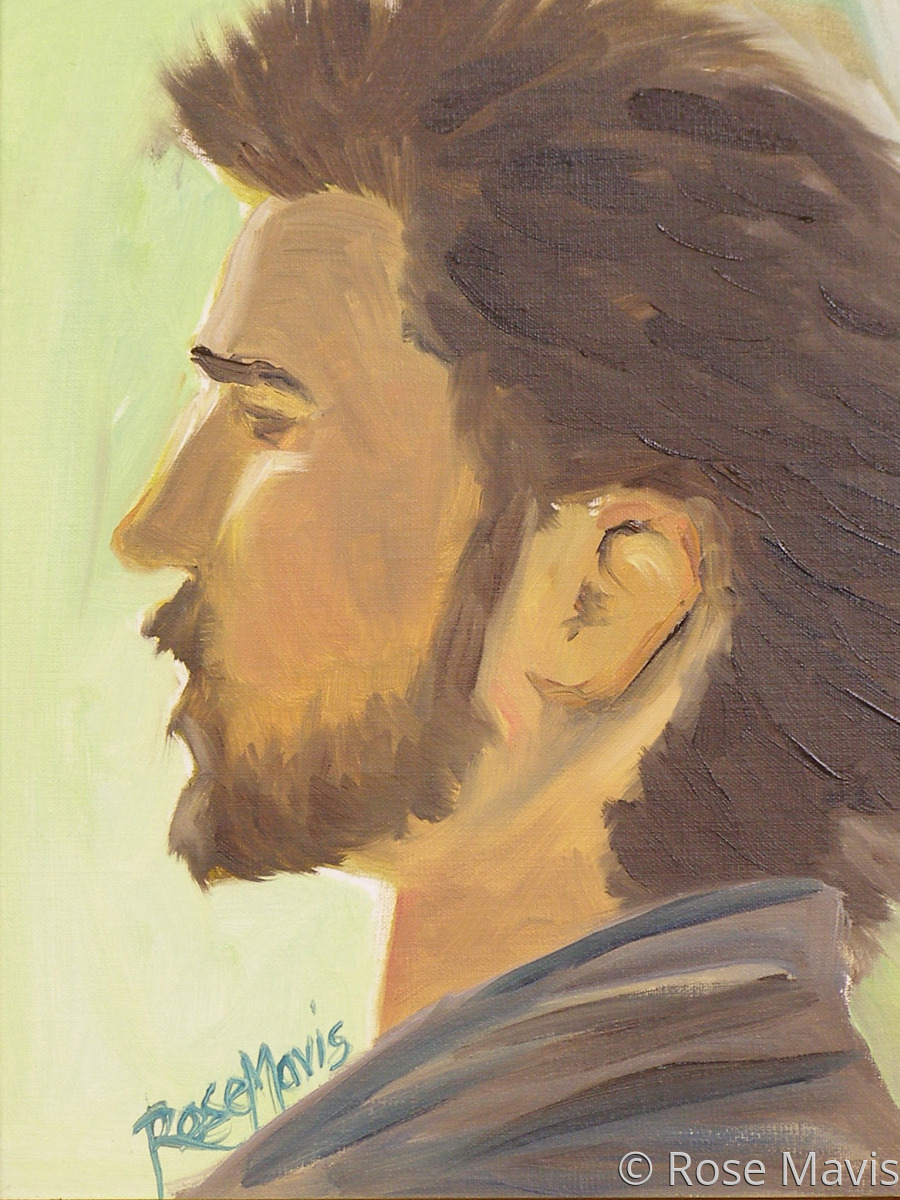 A quick oil study done in two hours at a paint in of a male model. This painting has been awarded Third Prize in the 2013 Bethlehem Palette Club Paint-In & Paint-Out Exhibition (large view)