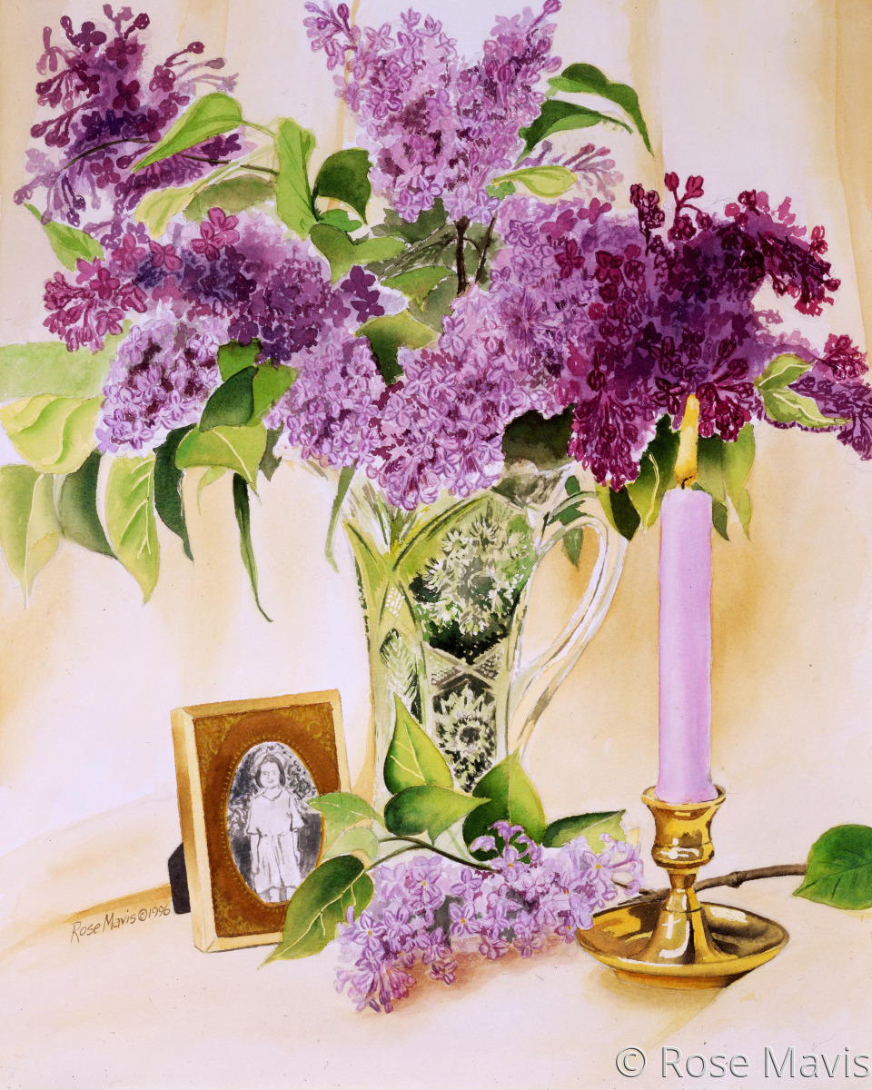 A detailed watercolor painting of  a still life created for a friend, including special momentos and a vase of lilacs; a favorite flower. (large view)