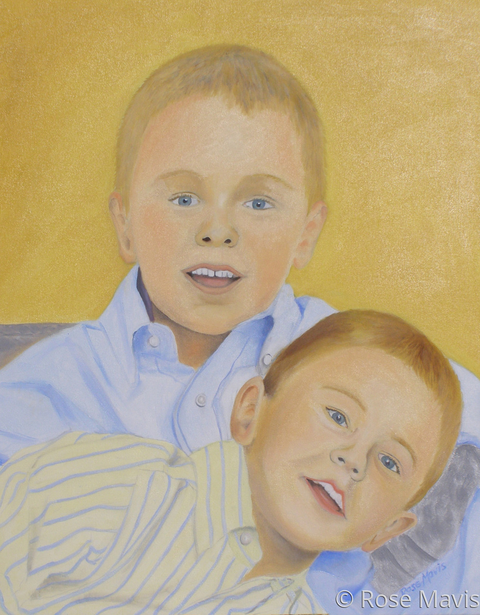 A charming double portrait of two siblings. A commissioned portrait in oils on canvas. (large view)