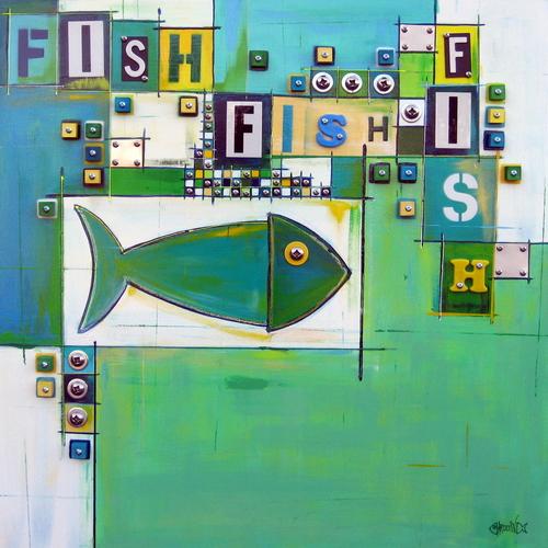 "Painting : ""Fish Town #35"" (Original Art By Shawn Ardoin"