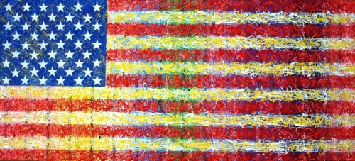 American Flag using drip painting technique (thumbnail)