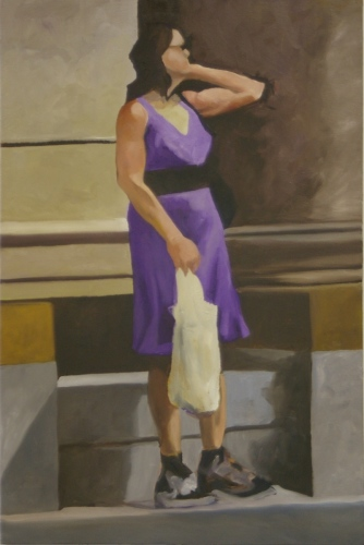 Figure in violet with bag