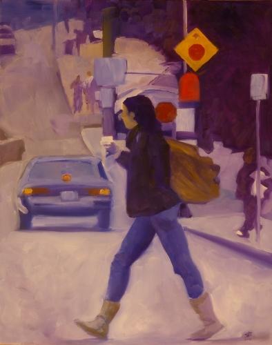 Figure crossing Bouquet Street