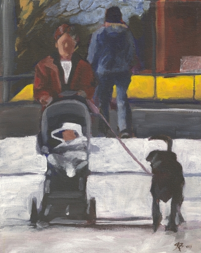 Figures with black dog and pram